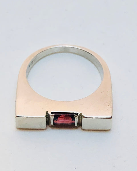 Sterling Silver Garnet Ladies Ring, Size 7