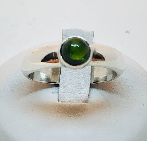Sterling Silver Green Tourmaline Ring, Size 8.5