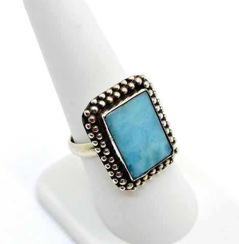 925 Solid Sterling Silver Natural Larimar Stone Ring Size 7.75