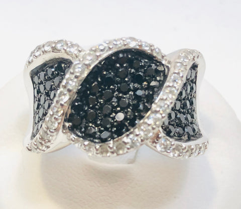 Lovely Ring With Rhodium Plated Black And White Cubic Zirconia With Pave Setting, size 9