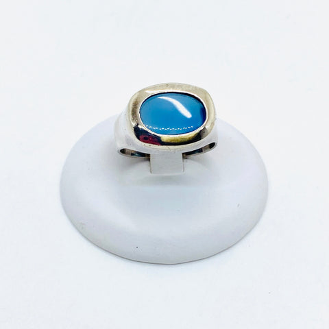 925 Solid Sterling Silver Natural Chalcedony Ring Size 5.5