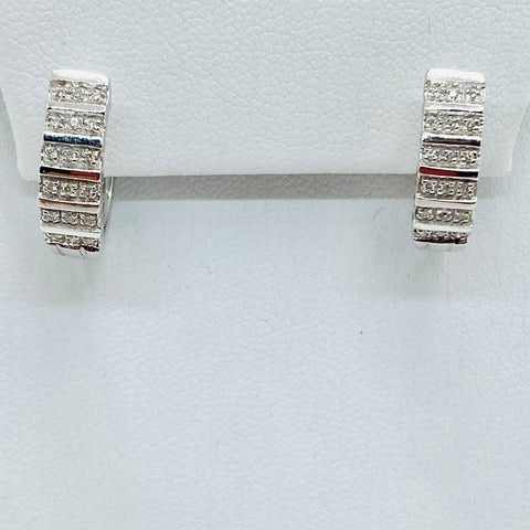 14k Solid White Gold .35 Carats Diamond Lever back Earrings