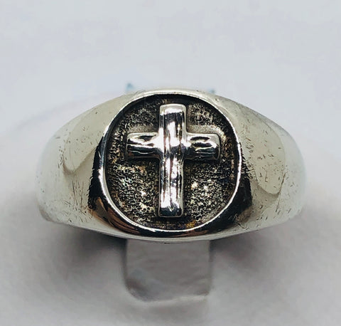 925 Sterling Silver Oxidized Cross Ring Size 5.25