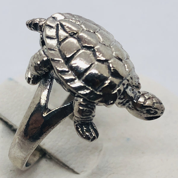 925 Sterling Silver Moving Head Turtle Ring, Size 6.5