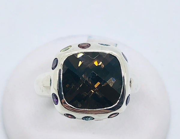 925 Sterling Silver Large Square Ring 16mm With Smokey Topaz & Multicolor Stones