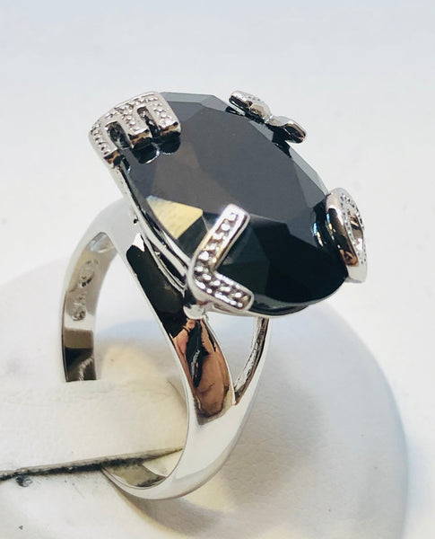 Sterling Silver Love C.Z  and Dark Stone Ladies Ring, Size 8