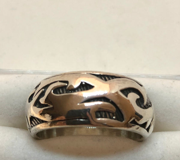 925 Sterling Silver Oxidized Large Celtic Gothic Men's Band 16 Grams Size 12