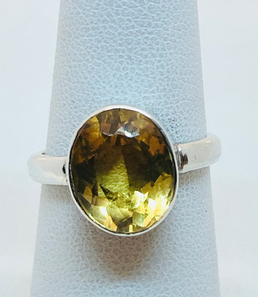 Sterling Silver Natural Citrine Ladies Ring, Size 6