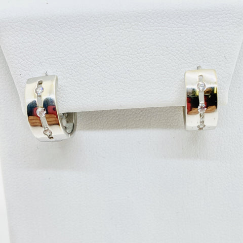 14K Solid White Gold Cubic Zirconia Hoop Earrings