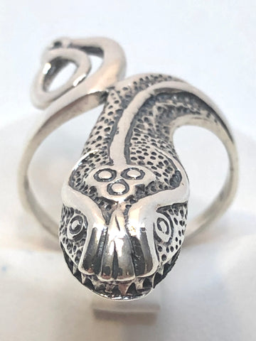 Rare Oxidized Snake Coil Oxidized Animal Ring 925 Sterling Silver Band Size 9