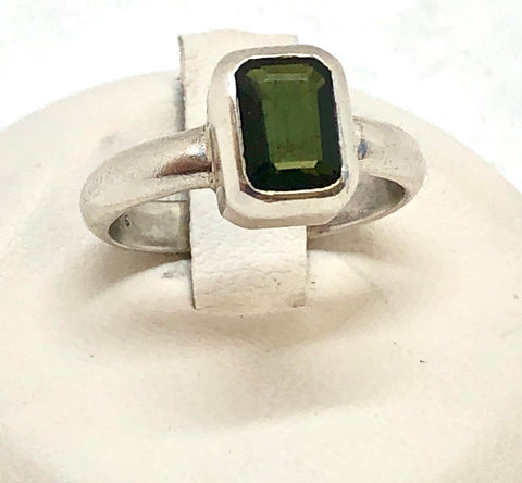 Sterling Silver Green Tourmaline Ring, size 5.5