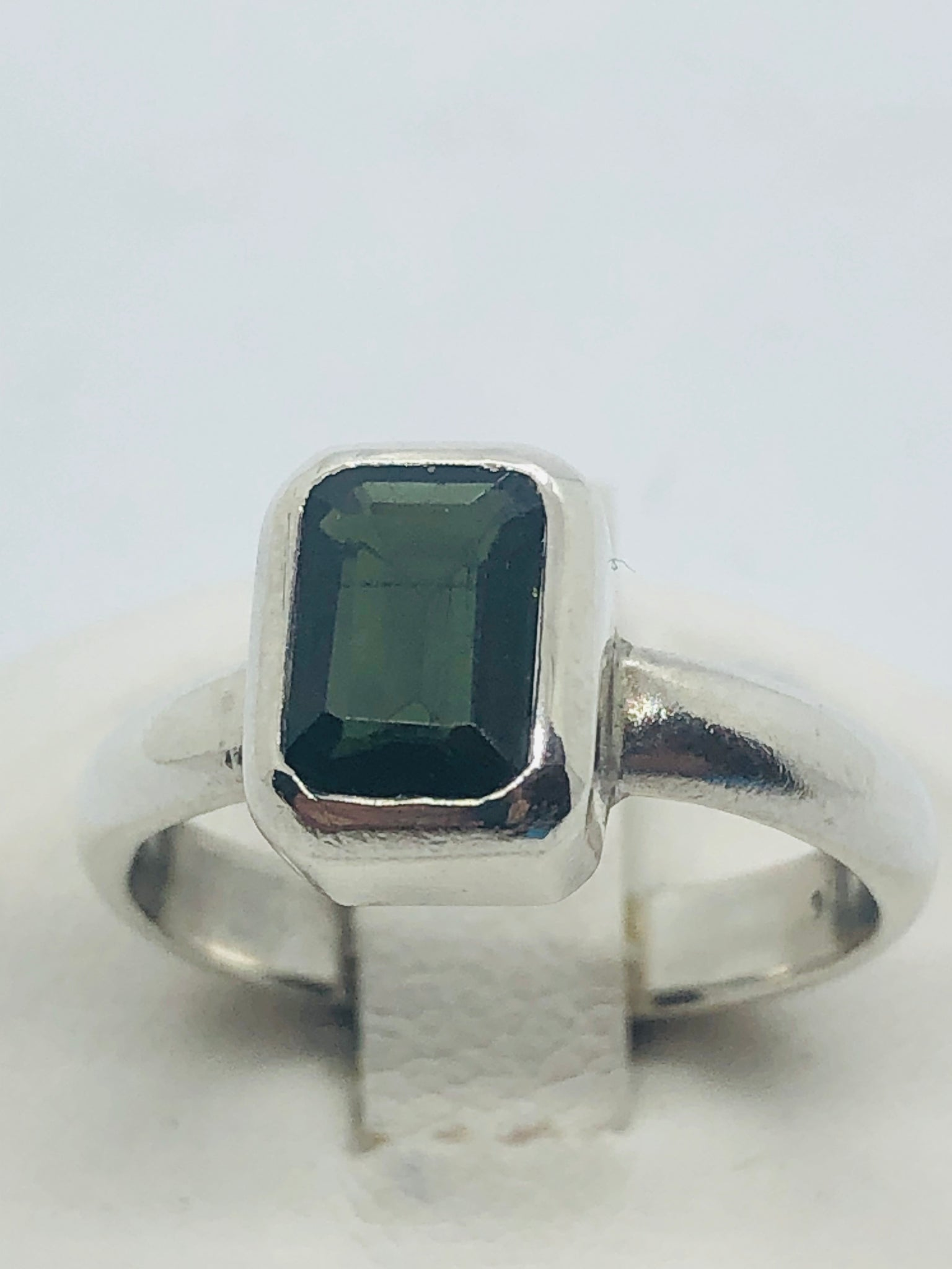 Green Tourmaline 925 Sterling Silver Ring, size 5.5
