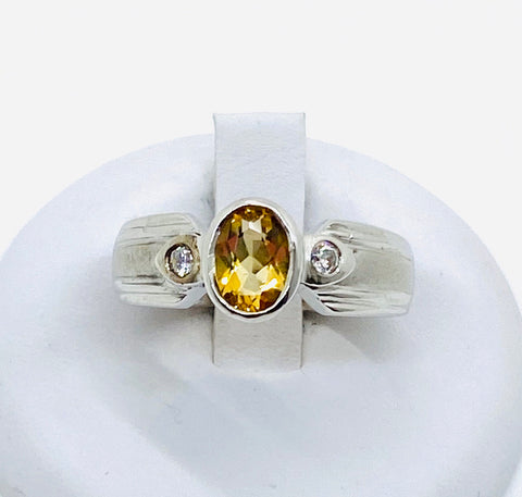 925 Solid Sterling Silver Oval Natural Citrine Cubic Zirconia Ladies Ring