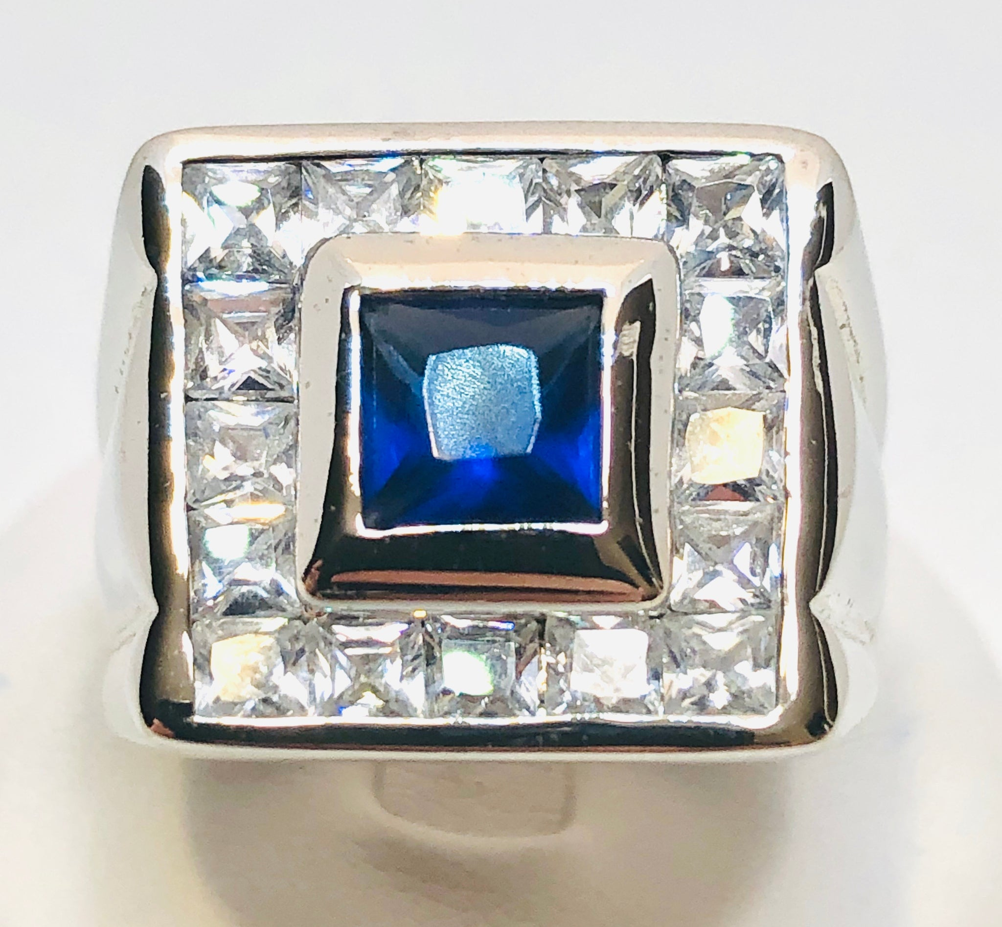 Sterling Silver Men's Rhodium Plated Ring with Cubic Zirconia, Size 11