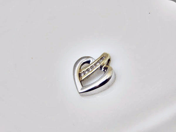 10kt Gold Two-Tone Heart Slide With Diamonds