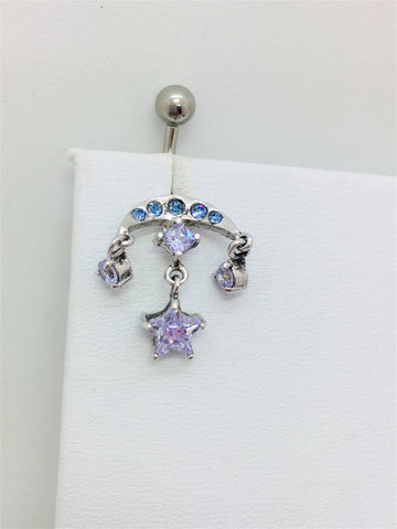Sterling Sliver / Cubic Zirconia Star Charm/ Half Moon
