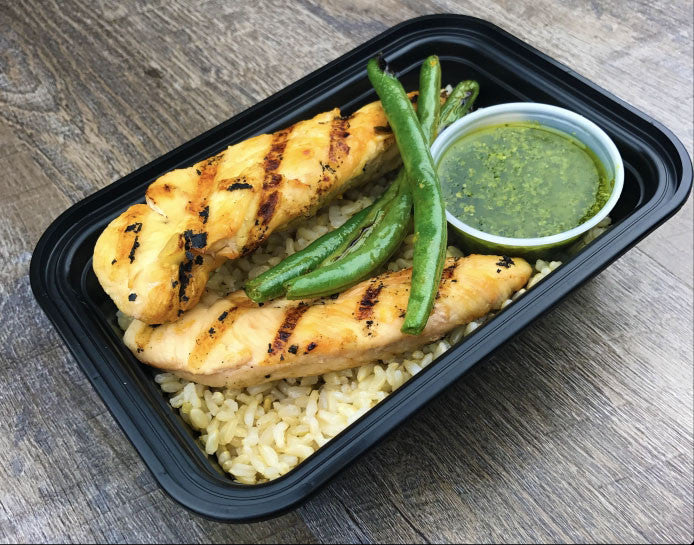Grilled Chicken, Brown Rice, Green Beans and Pesto