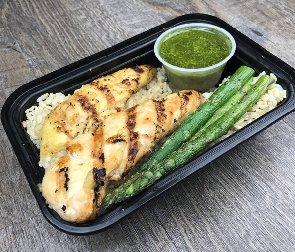 Lemon Pepper Chicken with Brown Rice, Asparagus and Pesto