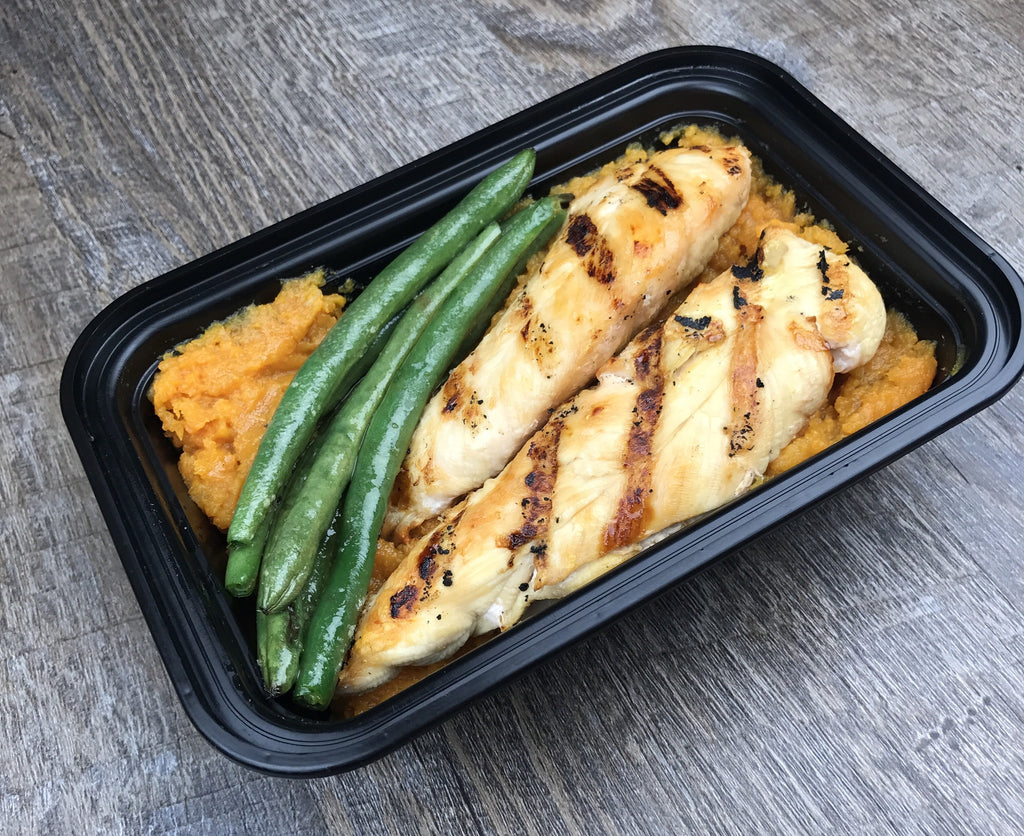 Grilled Lemon Chicken Sweet Potato and Green Beans