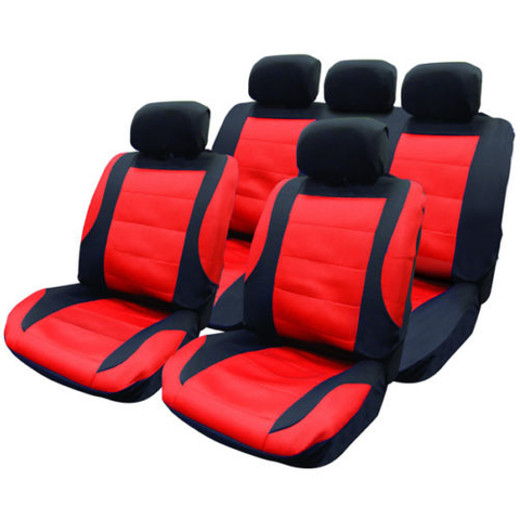 14 PCE BLACK RED CAR SEAT COVERS STEERING WHEEL COVER