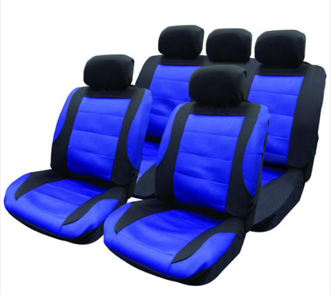 4 PCE BLACK/BLUE MESH CAR SEAT COVERS & STEERING WHEEL COVER ...