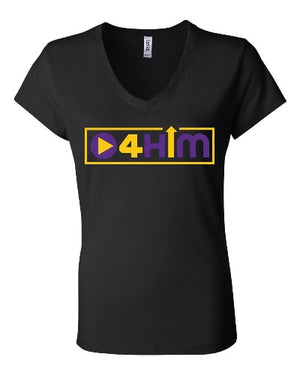 Adult Purple and Gold V-Neck (Women's Cut) Shirts (Sizes run small so order one size larger)