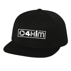 Silver and Black Flat Brim Snap Back Hat