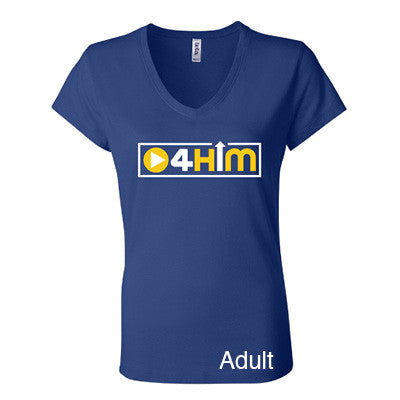 Adult Blue V-Neck (Women's Cut) Gold and White Shirts (Sizes run small so order one size larger)