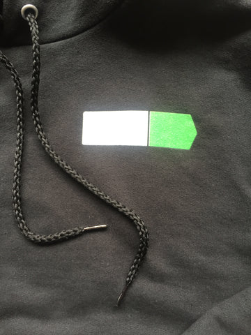 "Image of black sweatshirt with the ""EXIT 127"" logo displayed on the right chest area"