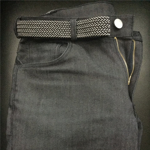 Thermal Denim displaying with belt, button, and zipper detailed