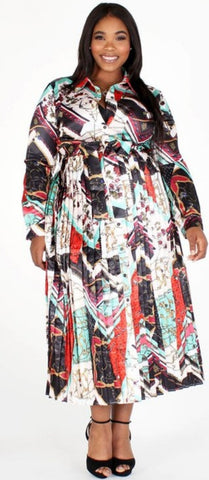Chain Print Multi Color Belted Dress (Size Small up to 3X)