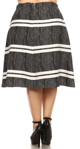 Abstract Stripe A-Line Skirt