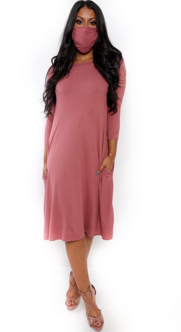 Solid Color Long Sleeve Tunic Dress w Matching Mask
