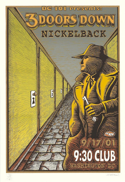 2001 3 Doors Down w/ Nickelback Concert Poster by Emek