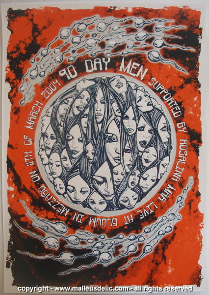 2004 90 Day Men Silkscreen Concert Poster by Malleus