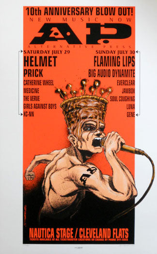 1995 Helmet & Flaming Lips (95-27) Concert Poster by Derek Hess
