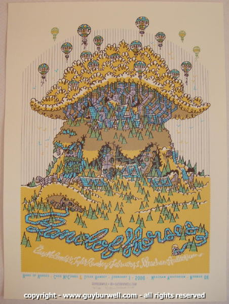 2008 Band of Horses Silkscreen Concert Poster by Guy Burwell