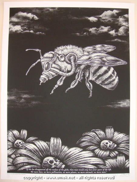 2007 Bee B/W Glow-in-the-Dark Art Print by Emek