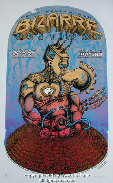 2000 Bizarre Fest w/ Beck, Deftones, Foo Fighters Poster by Emek