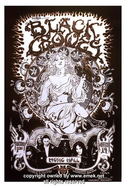 1995 The Black Crowes - Cleveland Silkscreen Concert Poster by Emek
