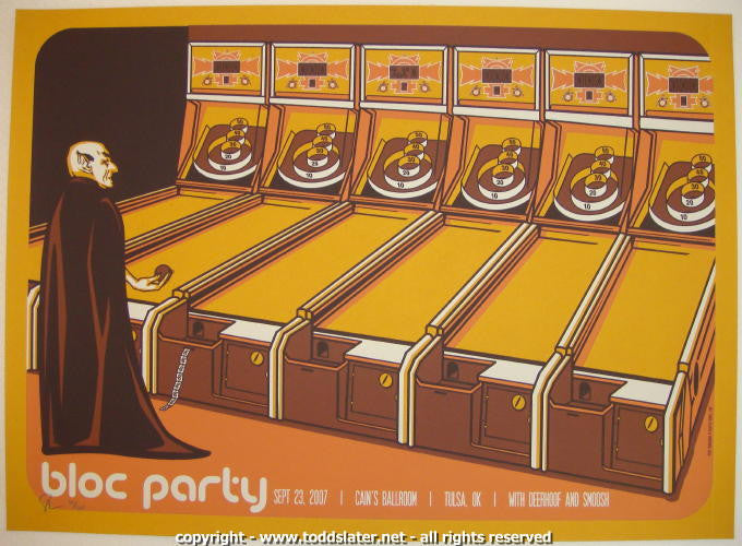 2007 Bloc Party - Tulsa Silkscreen Concert Poster by Todd Slater