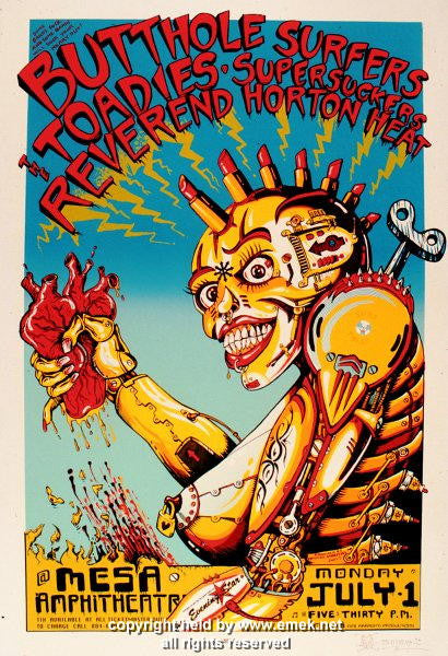 1996 Butthole Surfers & Reverend Horton Heat Poster by Emek