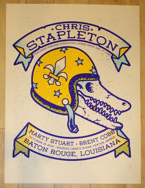 2017 Chris Stapleton - Baton Rouge Silkscreen Concert Poster by Andy Vastagh