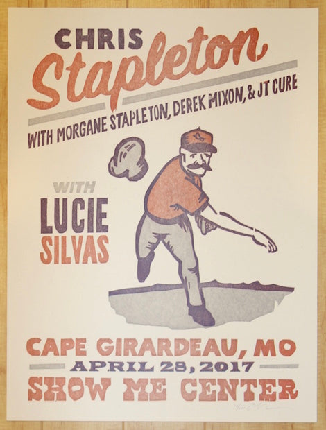 2017 Chris Stapleton - Camp Girardeau Letterpress Concert Poster by Carl Carbonell