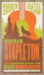 2017 Chris Stapleton - Seattle Letterpress Concert Poster by Brad Vetter