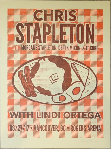 2017 Chris Stapleton - Vancouver Letterpress Concert Poster by Carl Carbonell
