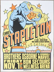 2019 Chris Stapleton - Greenville Silkscreen Concert Poster by Mike King