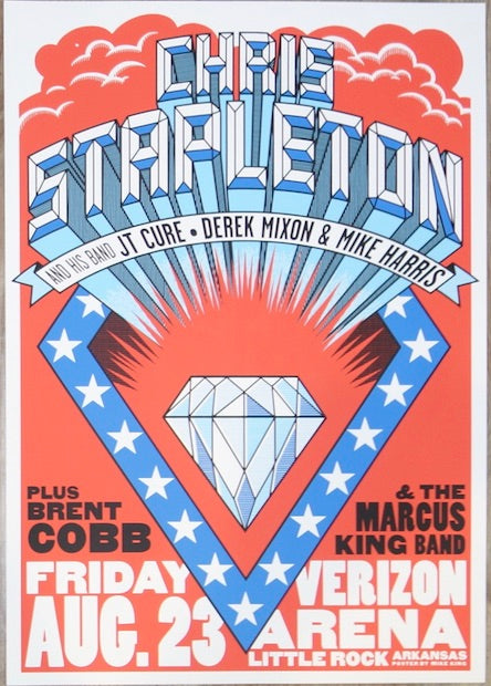 2019 Chris Stapleton - Little Rock Silkscreen Concert Poster by Mike King
