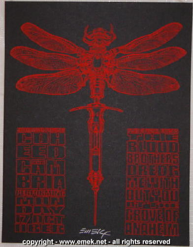2005 Coheed & Cambria - Red Silkscreen Concert Handbill by Emek