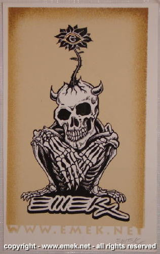 2005 Crouching Skeleton - Yellow Web Silkscreen Handbill by Emek